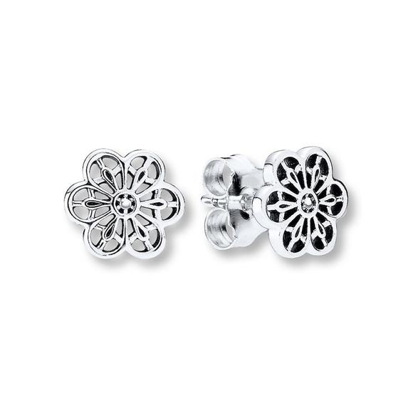 Pandora Open Work Flower Earrings